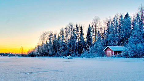 Белоснежная зима на озере